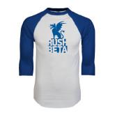 White/Royal Raglan Baseball T Shirt-Rush Beta Stacked