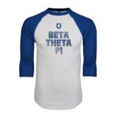 White/Royal Raglan Baseball T Shirt-Stacked BTP with pattern