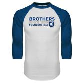 White/Royal Raglan Baseball T Shirt-Brothers/Founders Day