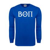 Royal Long Sleeve T Shirt-Beta Theta Pi Greek Letters