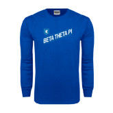 Royal Long Sleeve T Shirt-Beta Theta Pi Diagonal