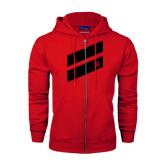 Champion Red Fleece Full Zip Hood-Stripe Design