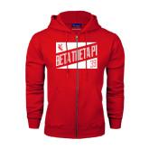 Champion Red Fleece Full Zip Hood-Beta Theta Pi Triangles
