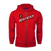 Champion Red Fleece Full Zip Hood-Beta Theta Pi Diagonal