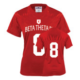 Ladies Red Replica Football Jersey-Official Logo White Letters