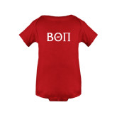 Red Infant Onesie-Beta Theta Pi Greek Letters