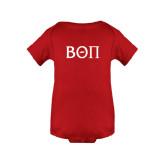 Red Infant Onesie-Beta Theta Pi Greek Letters