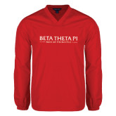 V Neck Red Raglan Windshirt-Beta Theta Pi