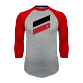 Grey/Red Raglan Baseball T Shirt-Stripe Design