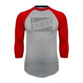 Grey/Red Raglan Baseball T Shirt-Beta Theta Pi Triangles