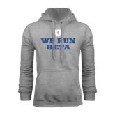 Grey Fleece Hood-We Run Beta with Pattern