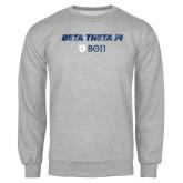 Grey Fleece Crew-Beta Theta with pattern
