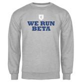 Grey Fleece Crew-We Run Beta with Pattern