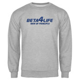 Grey Fleece Crew-Beta 4 Life with Pattern