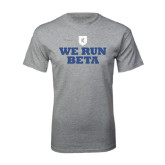 Grey T Shirt-We Run Beta with Pattern