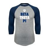 Grey/Navy Raglan Baseball T Shirt-Stacked BTP