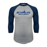 Grey/Navy Raglan Baseball T Shirt-Beta 4 Life with Pattern