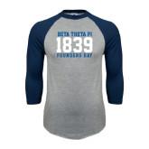 Grey/Navy Raglan Baseball T Shirt-Founders Day 1839