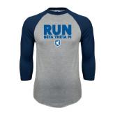 Grey/Navy Raglan Baseball T Shirt-Run Beta Theta Pi w/ Shield Stacked