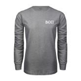 Grey Long Sleeve T-Shirt-Beta Theta Pi Greek Letters