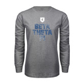 Grey Long Sleeve T Shirt-Stacked BTP with pattern