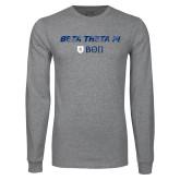 Grey Long Sleeve T Shirt-Beta Theta with pattern