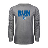 Grey Long Sleeve T Shirt-Run Beta Theta Pi w/ Shield Stacked