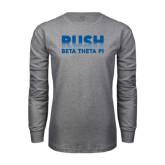 Grey Long Sleeve T Shirt-Rush Lines Beta Theta Pi