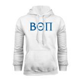 White Fleece Hoodie-Beta Theta Pi Greek Letters
