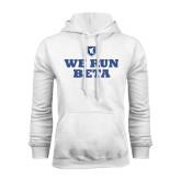 White Fleece Hood-We Run Beta with Pattern