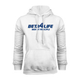 White Fleece Hoodie-Beta 4 Life with Pattern
