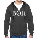 Charcoal Fleece Full Zip Hood-Beta Theta Pi Greek Letters