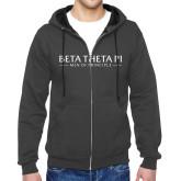 Charcoal Fleece Full Zip Hood-Beta Theta Pi