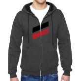 Charcoal Fleece Full Zip Hoodie-Stripe Design