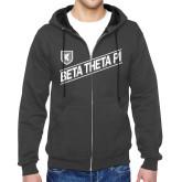 Charcoal Fleece Full Zip Hood-Beta Theta Pi Diagonal