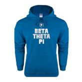 Heathered Sapphire Fleece Hoodie-Stacked BTP with pattern