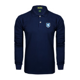 Navy Long Sleeve Polo-Official Shield
