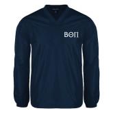 V Neck Navy Raglan Windshirt-Beta Theta Pi Greek Letters