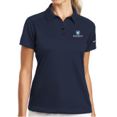 Ladies Nike Dri Fit Navy Pebble Texture Sport Shirt-Official Logo