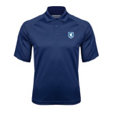 Navy Textured Saddle Shoulder Polo-Official Shield
