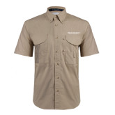 Khaki Short Sleeve Performance Fishing Shirt-Beta Theta Pi