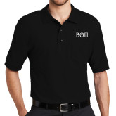 Black Easycare Pique Polo w/ Pocket-Beta Theta Pi Greek Letters