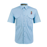 Light Blue Short Sleeve Performance Fishing Shirt-Coat of Arms