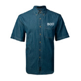 Denim Shirt Short Sleeve-Beta Theta Pi Greek Letters