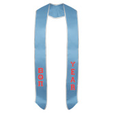 2018 Light Blue Graduation Stole w/White Trim-Small Greek Letters Tackle Twill Stacked