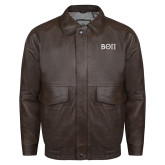 Brown Leather Bomber Jacket-Beta Theta Pi Greek Letters