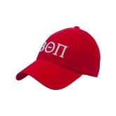 Red Twill Unstructured Low Profile Hat-Beta Theta Pi Greek Letters