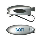 Silver Bullet Clip Sunglass Holder-Beta Theta Pi Greek Letters