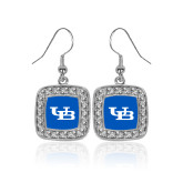 Crystal Studded Square Pendant Silver Dangle Earrings-Interlocking UB