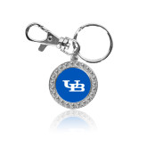 Crystal Studded Round Key Chain-Interlocking UB